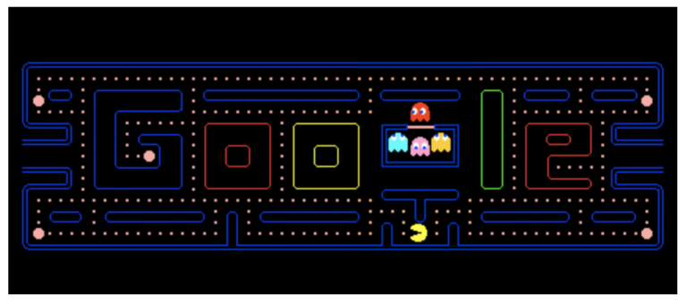 Google Doodle for the 30 years of the well-known Pac-Man game.