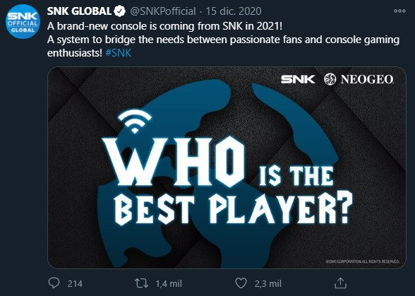 The company's tweet where they announced the new Neo-Geo Console.