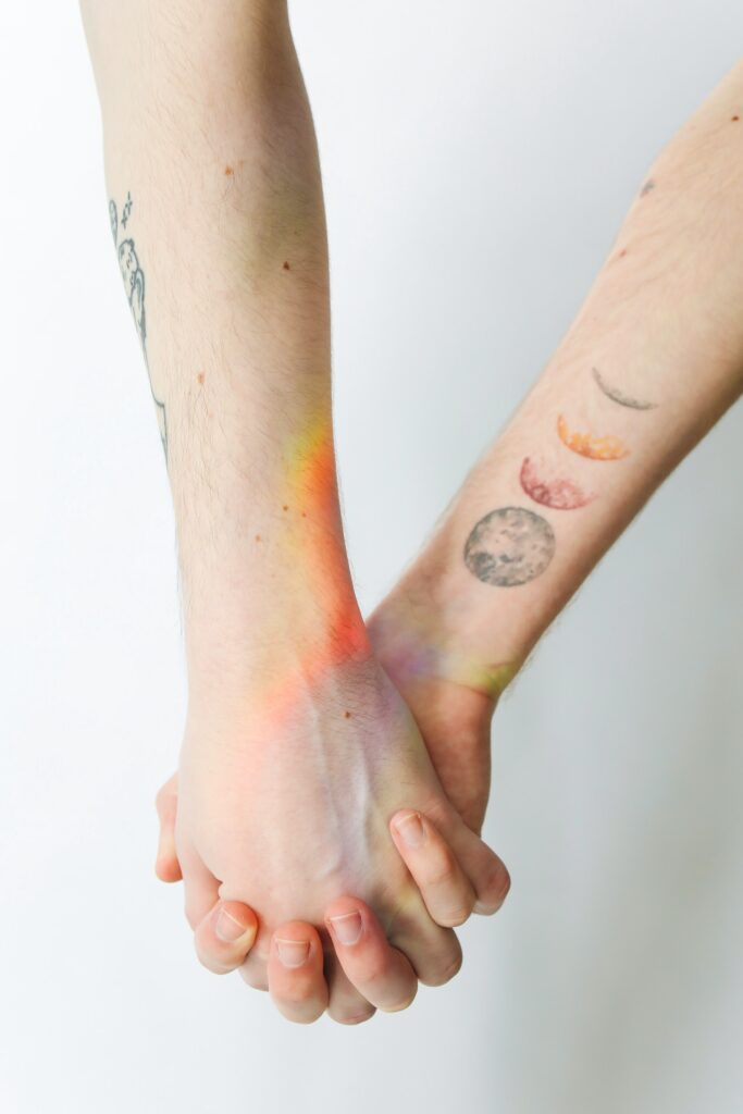 A different kind of moon tattoos. Couples tattoos.