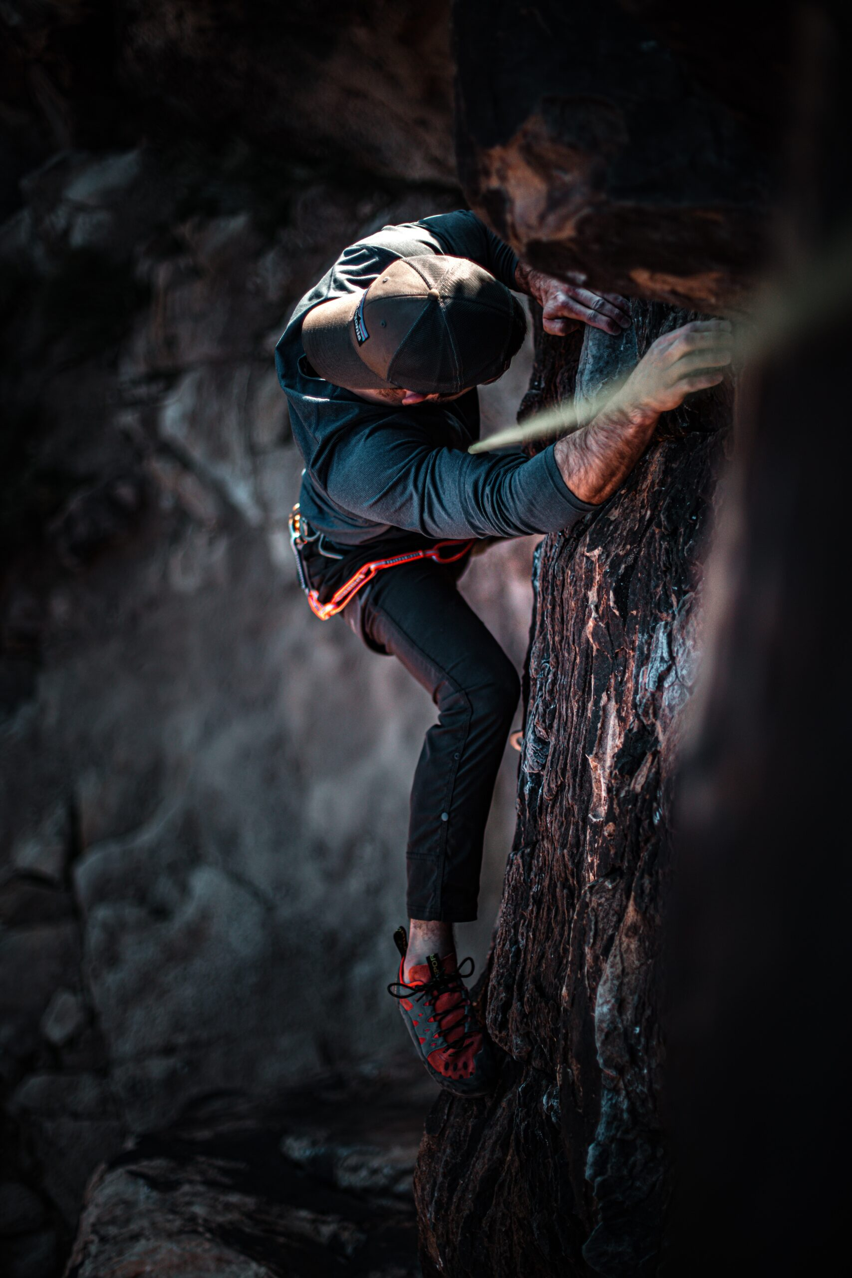 Climbing Workout involves a full-body training and learning techniques. Person climbing.