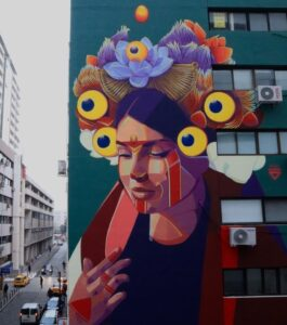 The Case, mural painting by the Colombian artist GLEO.