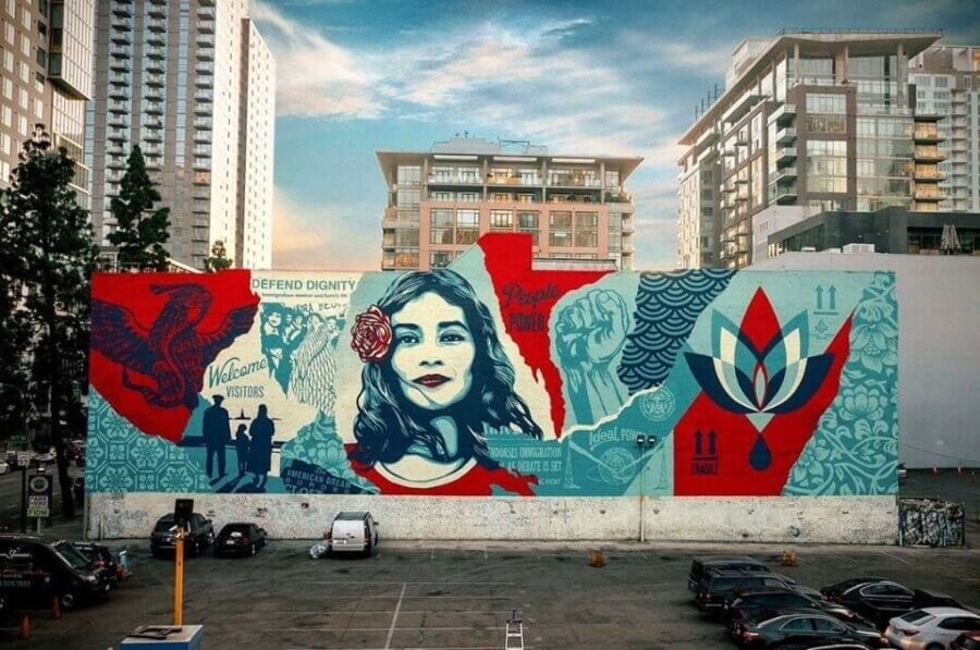 Defend Dignity, a mural in Los Angeles by the well-known artist Obey.