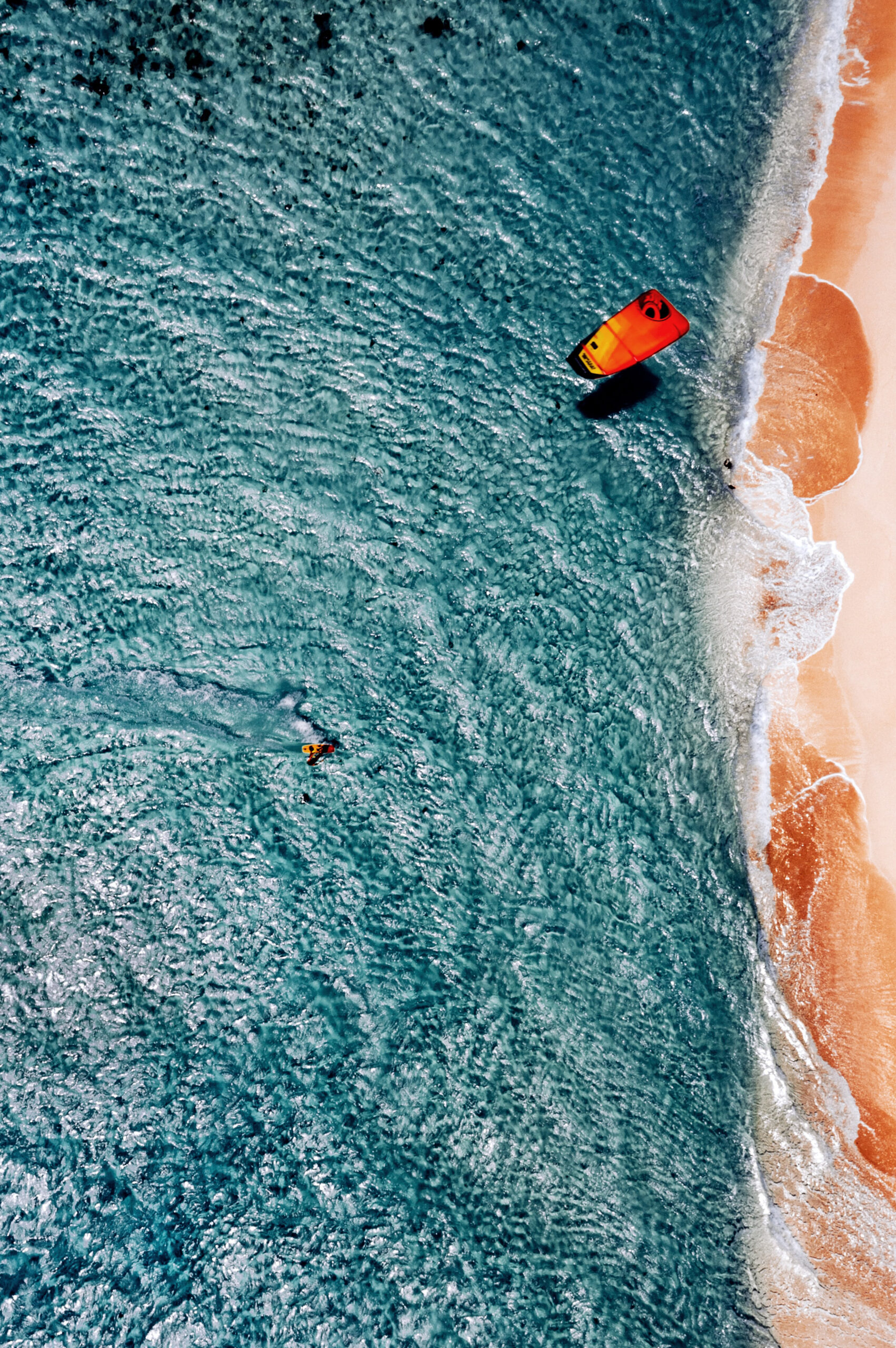Kitesurfing moment, view from above.