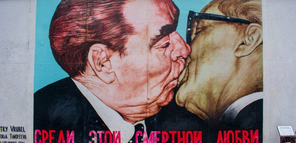 East Side Gallery Berlin, where you can find one of the most famous kisses in the world.